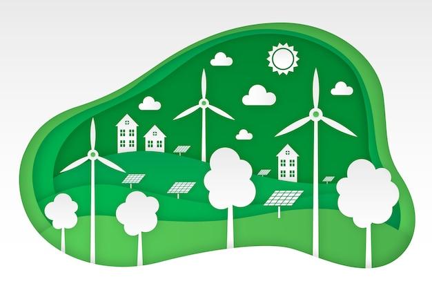 Concetto di ecologia in stile carta con turbine eoliche