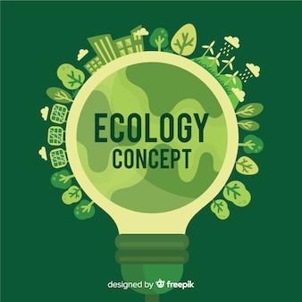 Concetto di ecologia piatta con lampadina