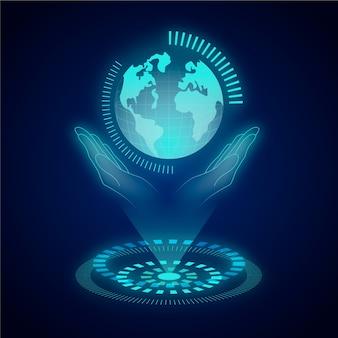 Concetto di ecologia tecnologica con ologramma