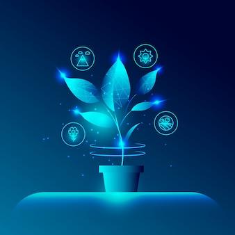 Concetto di ecologia tecnologica con pianta