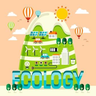 Concetto di ecologia, uno splendido scenario in stile