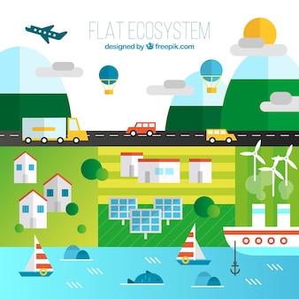 Concetto di ecosistema adorabile con design piatto