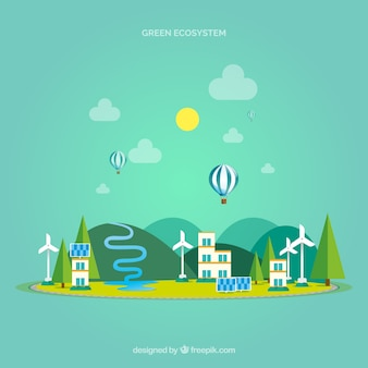 Concetto di ecosistema con città moderna