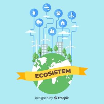 Concetto di ecosistema con città sul globo