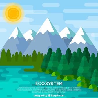 Concetto di ecosistema con sfondo di montagna