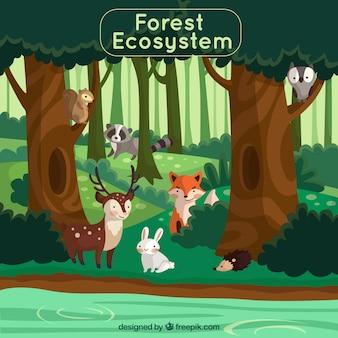 Concetto di ecosistema forestale con animali adorabili