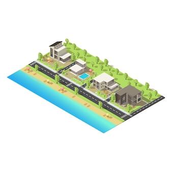 Concetto di edifici suburbani costieri isometrici