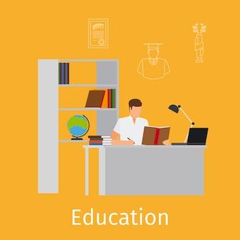 Concetto di educazione con illustrazione di apprendimento