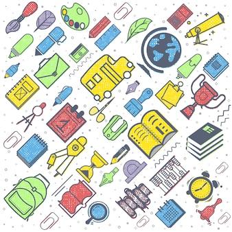 Concetto di educazione fondo della scuola con i rifornimenti di scuola disegnati a mano. di nuovo a scuola