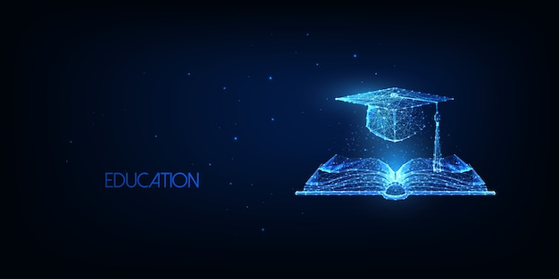 Concetto di educazione futuristica con libro aperto poligonale basso incandescente e cappuccio di laurea isolato su sfondo blu scuro. moderna rete metallica.