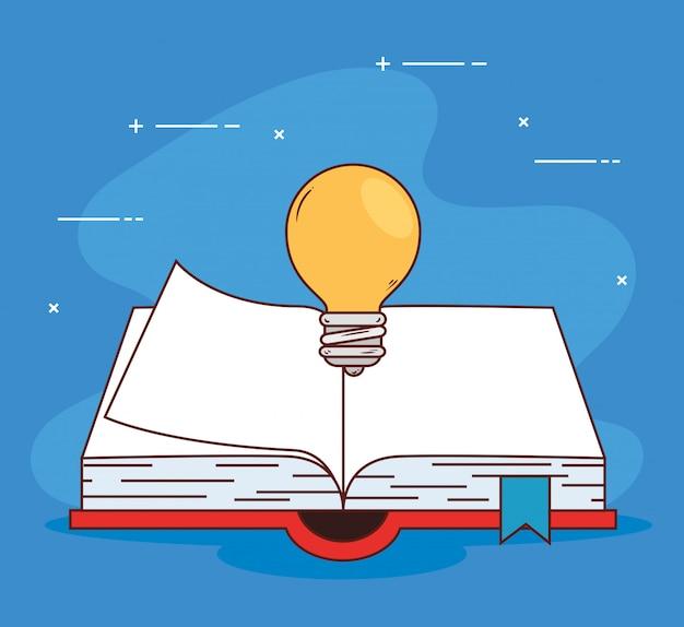 Concetto di educazione, libri aperti con lampadina