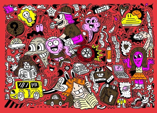 Concetto di educazione. sfondo scuola con materiale scolastico disegnato a mano, divertente stile doodle