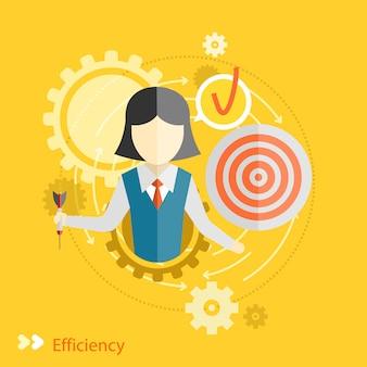Concetto di efficienza in design piatto. ingranaggi lavoro di squadra con il concetto di destinazione