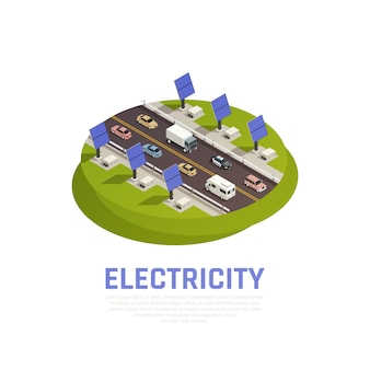 Concetto di elettricità con batterie auto solari e autostrada isometrica