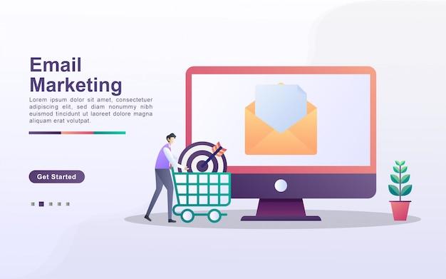 Concetto di email marketing. campagna pubblicitaria e-mail, e-marketing, raggiungendo il pubblico di destinazione con e-mail. invia e ricevi posta.