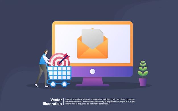 Concetto di email marketing. campagna pubblicitaria via email.
