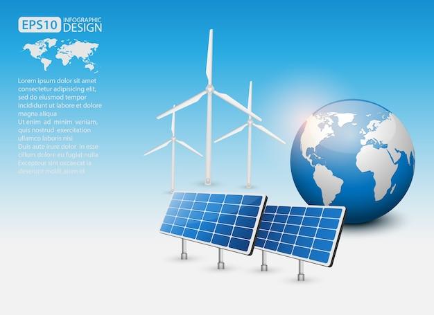 Concetto di energia verde con pannello solare e terra