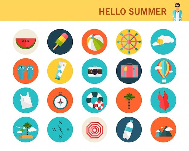 Concetto di estate felice icone piane.
