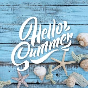Concetto di estate lettering sfondo