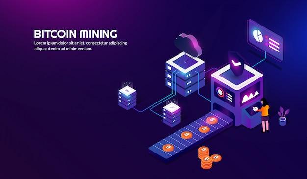 Concetto di estrazione bitcoin isometrica, criptovaluta sfondo