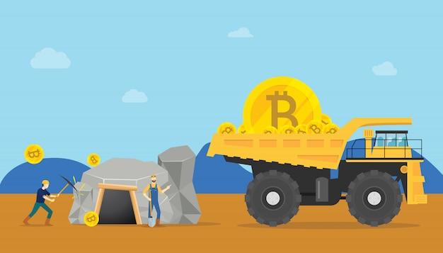 Concetto di estrazione di bitcoin con criptovaluta mineraria di miniera