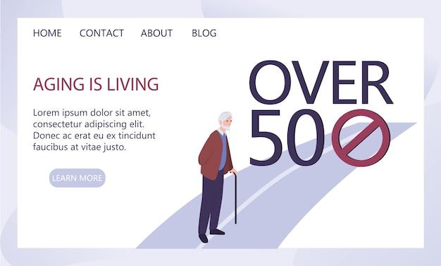 Concetto di età. ingiustizia e problema sociale degli anziani. invecchiare è un'idea vivente. annuncio di servizio sociale o banner web.