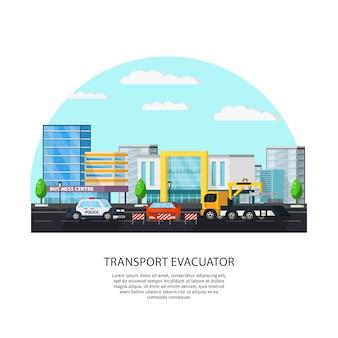 Concetto di evacuatore di trasporto colorato