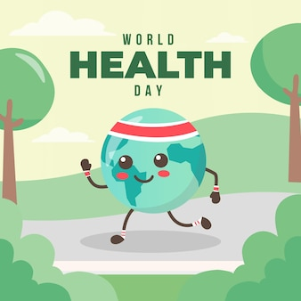 Concetto di evento design piatto mondo heathy day