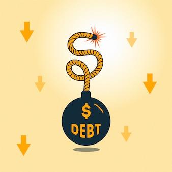 Concetto di fallimento con bomba di debito
