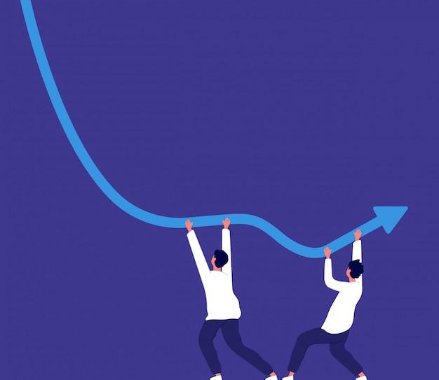 Concetto di fallimento. le persone che cercano di mantenere la tendenza al ribasso della freccia fanno aumentare il rischio economico e la crisi