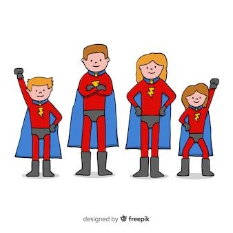 Concetto di famiglia creativo supereroe