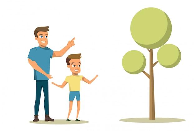 Concetto di famiglia felice del fumetto dell'illustrazione di vettore