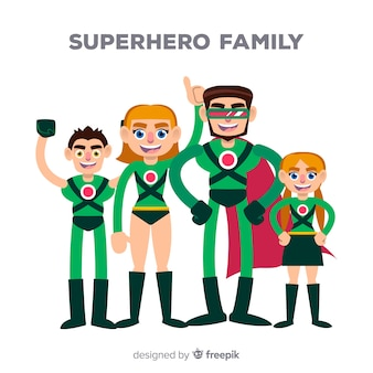Concetto di famiglia piatto supereroe