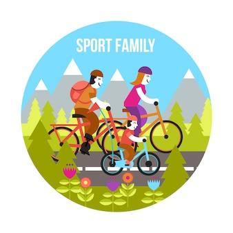 Concetto di famiglia sportiva