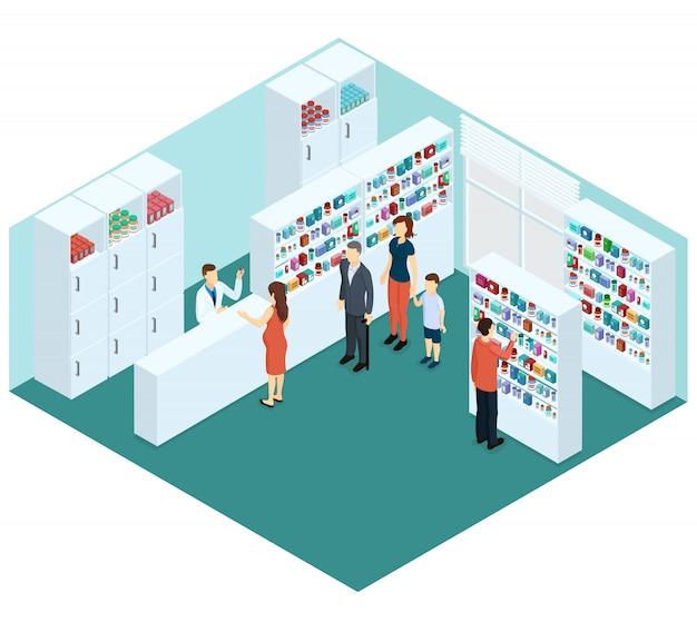 Concetto di farmacia isometrica colorato