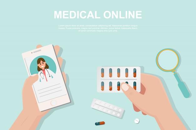 Concetto di farmacia online in stile piatto.