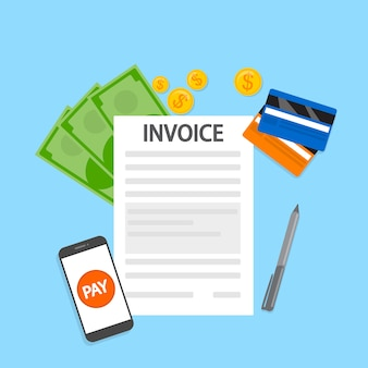 Concetto di fattura. firma documento finanziario contenente fattura. termini di pagamento. illustrazione vettoriale piatto