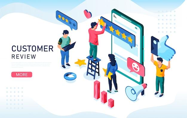 Concetto di feedback mobile a cinque stelle. illustrazione isometrica della recensione del cliente.è possibile utilizzare, per la pagina di destinazione web, app mobile, modello di banner.