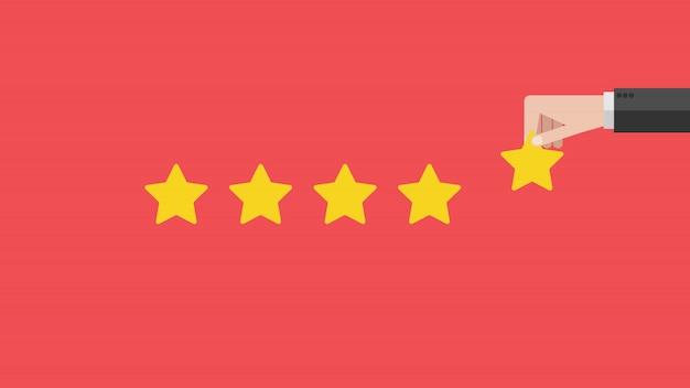 Concetto di feedback positivo. la mano di affari dà un'illustrazione di valutazione a cinque stelle