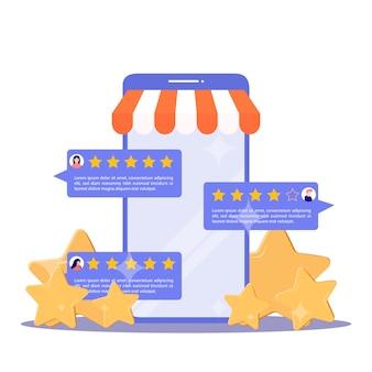 Concetto di feedback. valutazione della recensione del cliente per lo shopping online