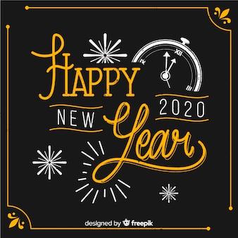 Concetto di felice anno nuovo con design vintage