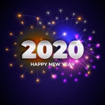 Concetto di felice anno nuovo con un design realistico