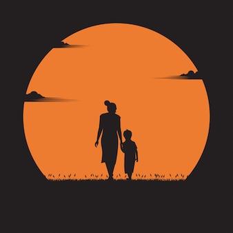 Concetto di festa della mamma. la madre camminava per mano con suo figlio nel tramonto. vacanza, silhouette, design piatto illustrazione
