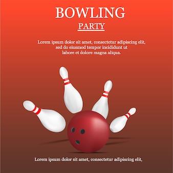 Concetto di festa di bowling, stile realistico