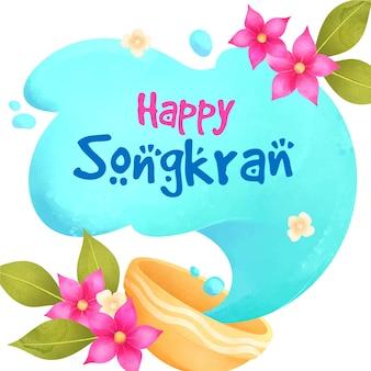 Concetto di festival songkran dell'acquerello