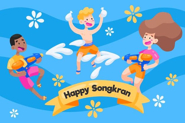 Concetto di festival songkran design piatto