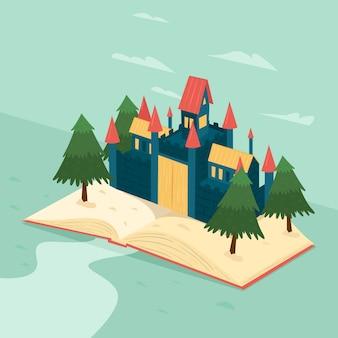 Concetto di fiaba con castello e alberi