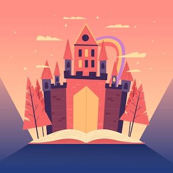 Concetto di fiaba con castello e arcobaleno
