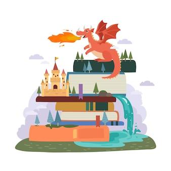 Concetto di fiaba con drago e castello