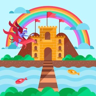 Concetto di fiaba con il castello